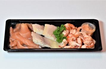 Trio van paling, zalm en Hollandse garnalen