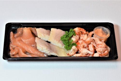 Trio van gerookte paling, zalm en Hollandse garnalen